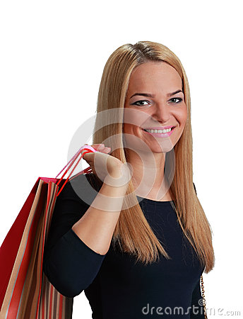 Mujer con el bolso de compras
