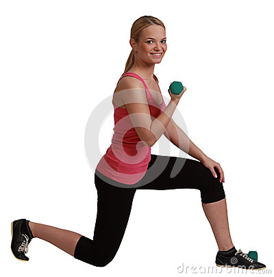 Mujer con pesas de gimnasia