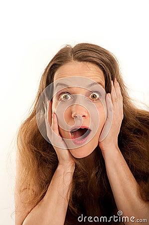 Mujer, sorprendida con la boca abierta