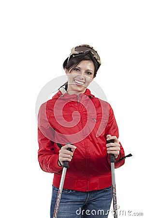 Mujeres de Prety con los postes y los vidrios de esquí