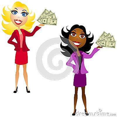 Mujeres que sostienen efectivo disponible