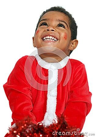 Mulatto child on a White background