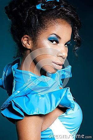 Mulatto girl on blue