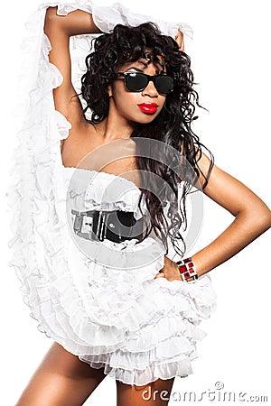 Mulatto girl in dress