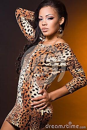 Mulatto woman on orange