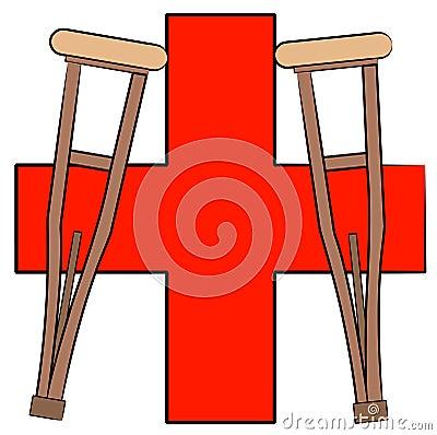 Muletas y símbolo de los primeros auxilios