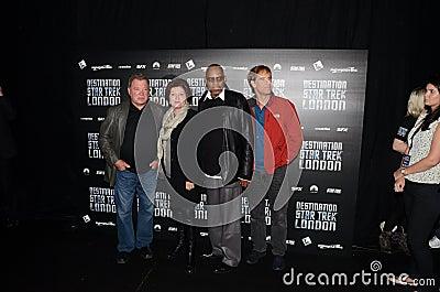 威廉・夏特纳和凯特Mulgrew和埃弗里Brooks和斯科特Bak 图库摄影片