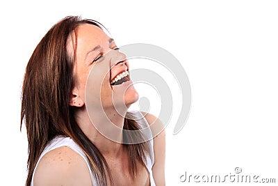 Mulher bonita no seu riso dos anos quarenta