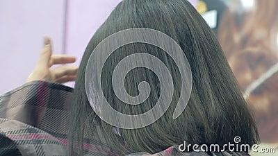 Mulher Brunette cortada no cabelo em salão de beleza, vista de trás video estoque