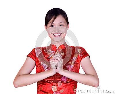 Mulher chinesa no traje oriental