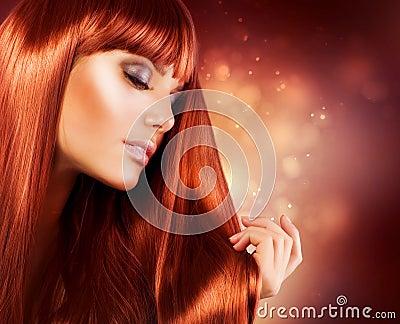 Mulher com cabelo longo