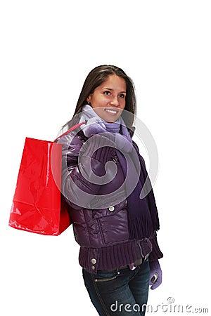 Mulher com saco de compra