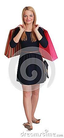 Mulher com sacos de compra