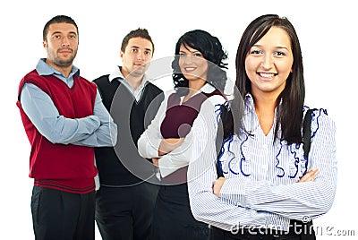 Mulher de negócio feliz e sua equipe