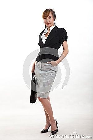 Mulher de negócios bonita do asian dos anos quarenta