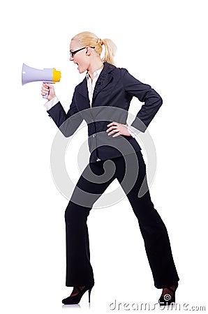Mulher de negócios da mulher com altifalante