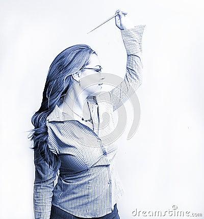 Mulher de negócios no azul