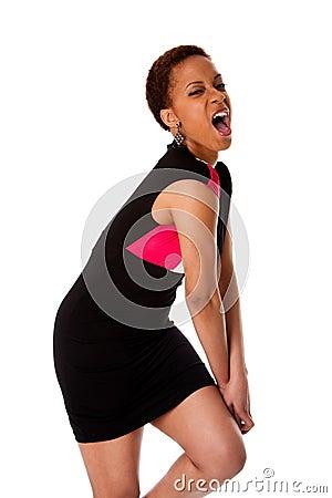 Mulher de negócio africana gritando