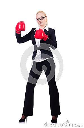 Mulher de negócios da mulher com luvas de encaixotamento