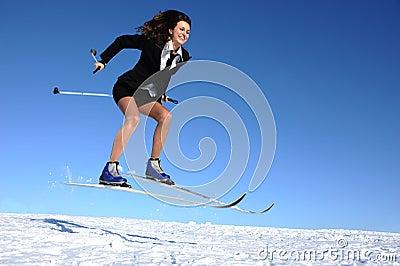 Mulher de negócios no esqui