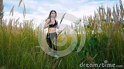 Mulher do ajuste que movimenta-se exercitando cardio- exterior de corrida através da grama alta no campo do verão Corredor fêmea  video estoque