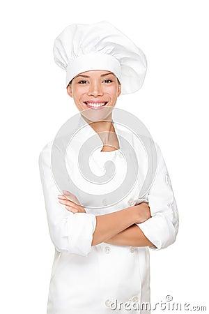 Mulher do cozinheiro chefe, do cozinheiro ou do padeiro