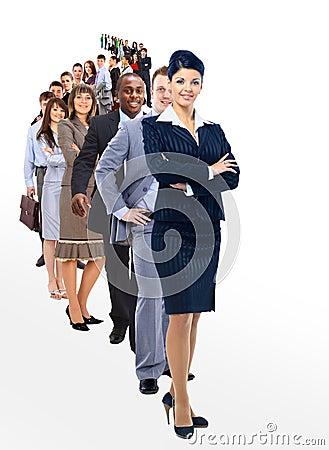 Mulher e sua equipe isoladas sobre um fundo branco