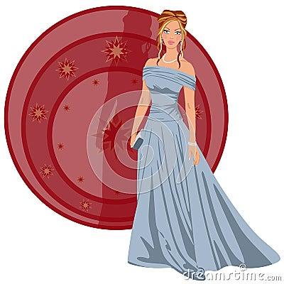Mulher elegante vestida para um partyrty