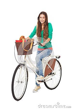 Mulher em uma bicicleta