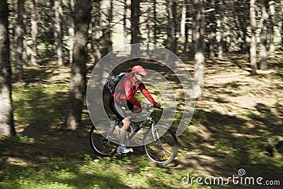 A mulher em uma bicicleta da montanha
