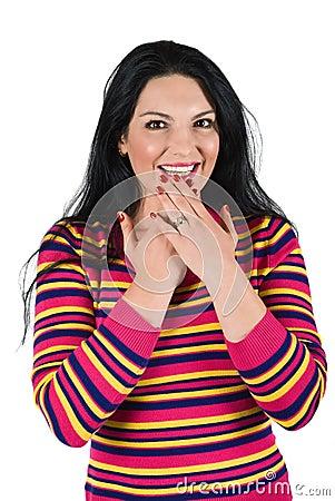 Mulher feliz surpreendida
