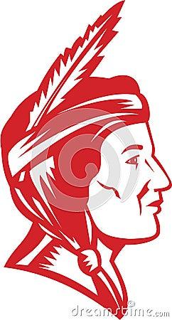 Mulher indiana da mulher pele-vermelha do nativo americano