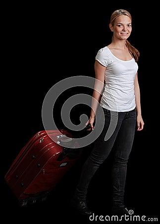 Viajante da jovem mulher