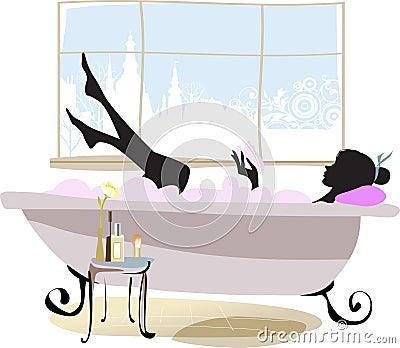 Mulher na banheira.