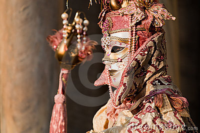 Mulher no traje no carnaval Venetian Fotografia Editorial