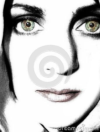 Mulher nova 2 de contraste elevado