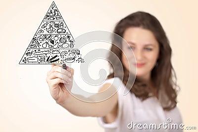 Mulher nova que desenha uma pirâmide de alimento no whiteboard
