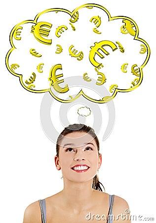Mulher ocasional que daydreaming sobre o euro (ern ou vitória).