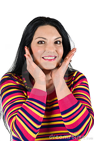 Mulher surpreendida de sorriso