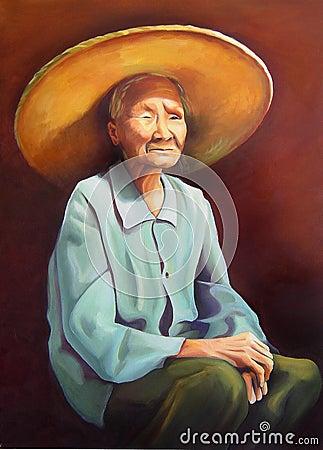 Mulheres chinesas idosas com um chapéu