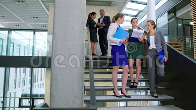 Mulheres de negócios que discutem no original ao estar em escadas vídeos de arquivo