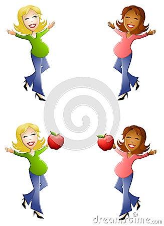 Mulheres gravidas felizes dos desenhos animados