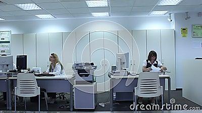 Mulheres que trabalham no escritório do banco vídeos de arquivo