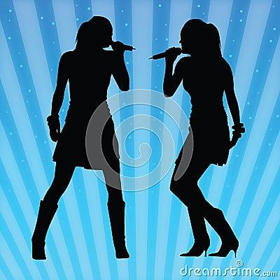 Mulheres  sexy  que cantam o vetor