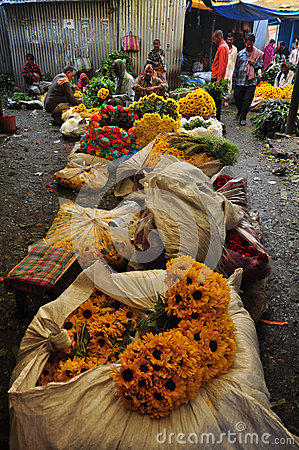 Mulik Ghat Flower Market 1 Editorial Stock Image