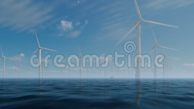 Mulini a vento offshore con la barca del tecnico contro la foschia di mattina royalty illustrazione gratis
