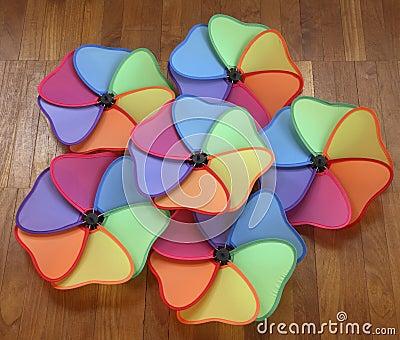 Mulitcolored pinwheels or windmills