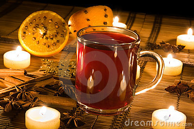 Mulled wine in candle light
