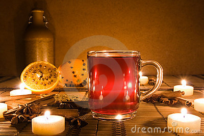 Mulled wine with candles