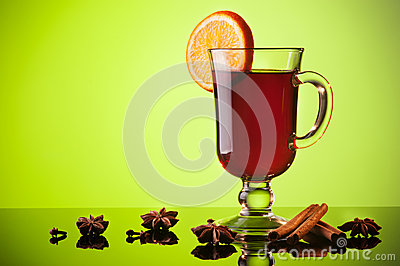 Mulled wine on green